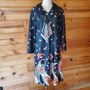 1970s Unlabeled Black & Floral Polyester Dress